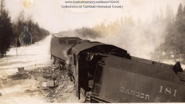 Wreck of Bangor and Aroostook steam engines. Squ Pan, 1945