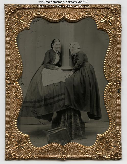 Novelty photograph of two women, ca. 1865