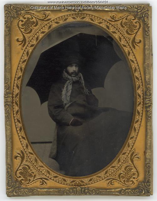Man in weather resistant clothing, ca. 1900