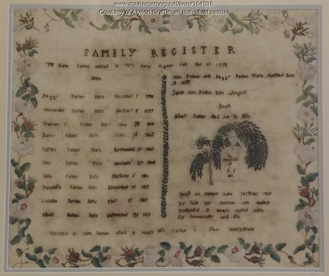 Patten family register, Topsham, 1821