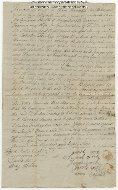 Deed from Samuel and Joanna York to Zebulon Trickey, Cape Elizabeth, 1789