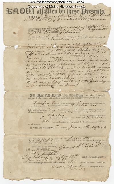 Deed from James Porterfield to Zebulon Trickey, Westbrook, 1822