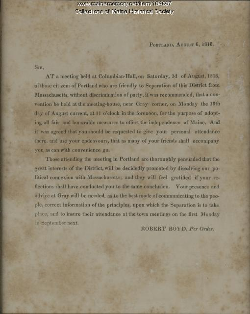 Letter from Robert Boyd calling for a meeting in Gray to discuss Separation, 1816