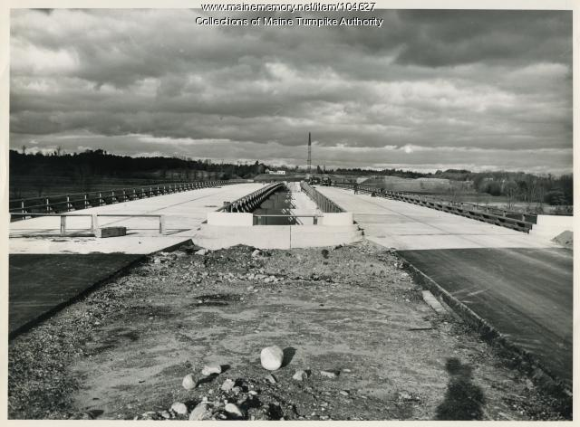 Decking over Saco River Bridge on Maine Turnpike, Saco, 1947