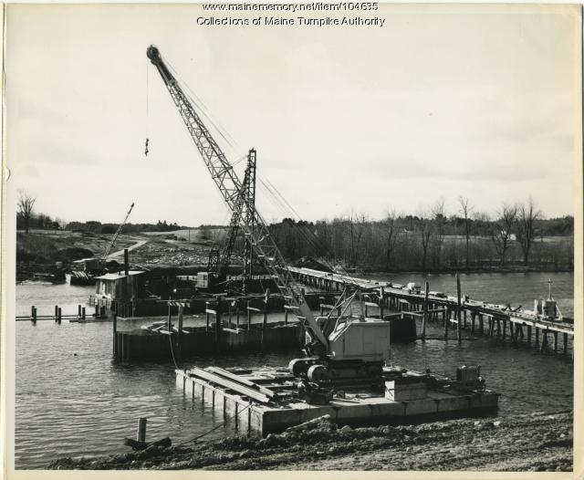 Construction of Saco River bridge on Maine Turnpike, 1947