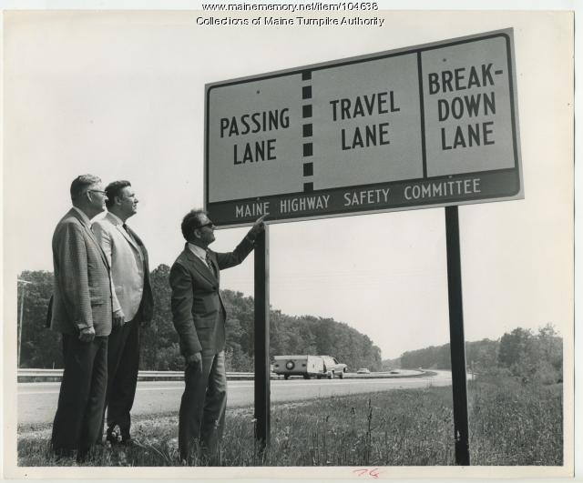 Passing lane sign, Maine Turnpike, 1972