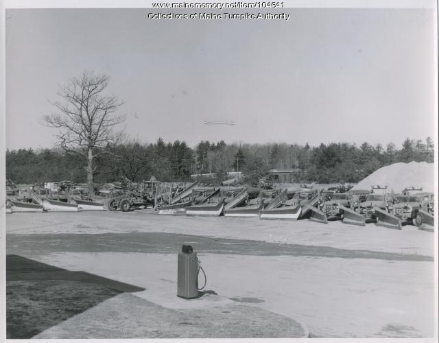 Snow plows at Maine Turnpike facility, Kennebunk, 1959