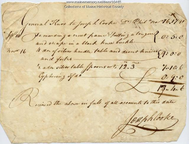 Henry Knox statement of payment to Joseph Cooke, November 16, 1791