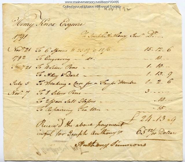 Henry Knox statement of payment to Joseph Anthony, 1791-1792