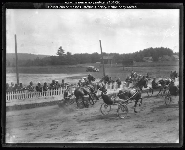 Harness racing accident, ca. 1930