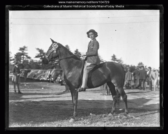 Woman at horse show, ca. 1930