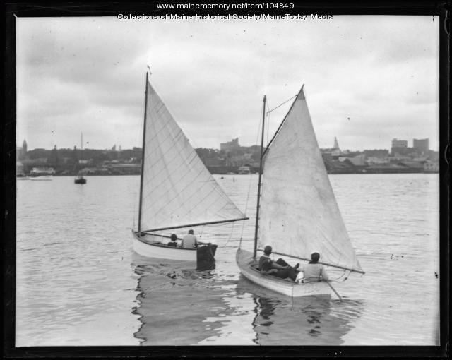 Two sailboats in a harbor, ca. 1935