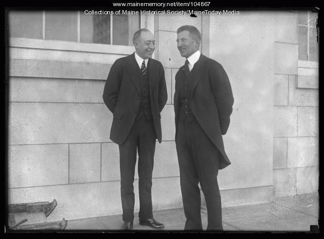 Guy Gannett with Senator Frederick Hale, Portland, 1920