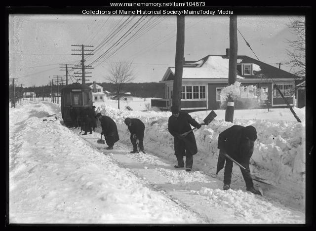 Men clearing snow for a trolley, ca. 1920