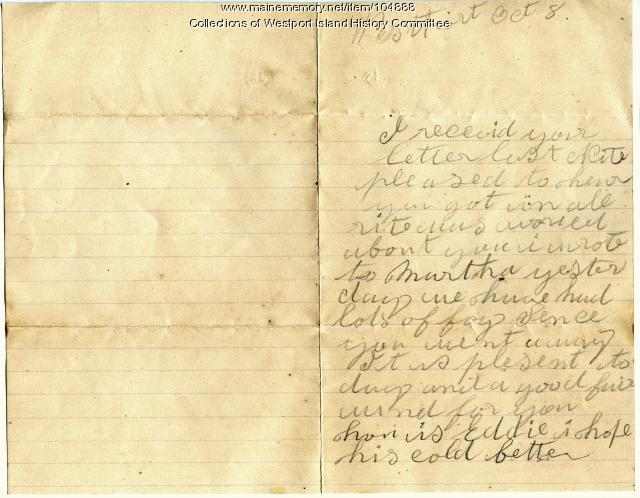 Sarah Tibbetts to Capt. John M. Tibbetts about sons, Westport Island, 1894
