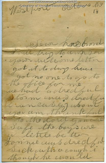 Sarah Tibbetts to John Tibbetts about illness at home, Westport Island, 1894