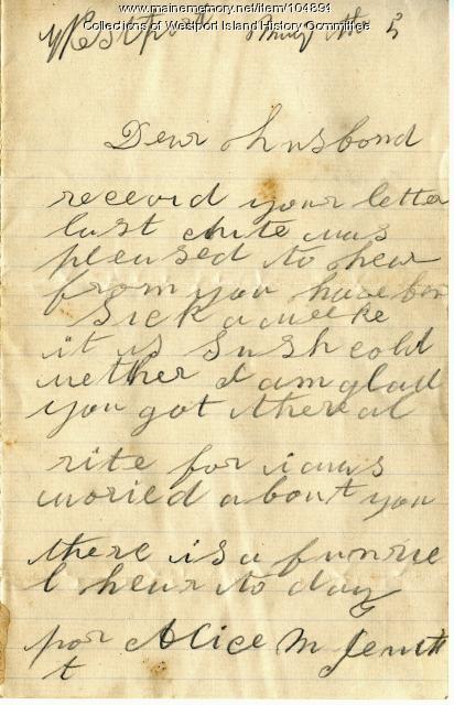 Sarah Tibbetts news about neighbors to John Tibbetts, Westport Island, 1895