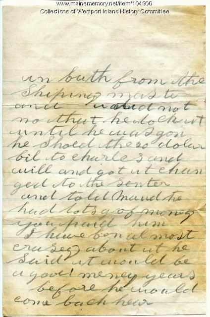 Sarah Tibbetts to her husband disclosing a family theft, Westport Island, 1895