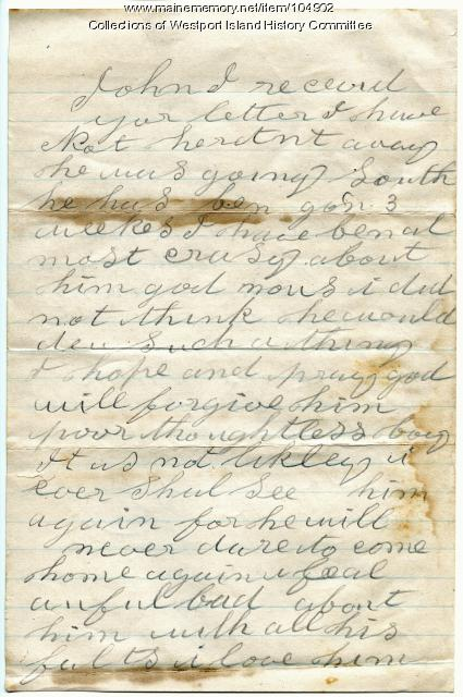 Sarah Tibbetts on coping with son's theft, Westport Island, 1895