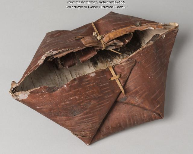 Wabanaki birch bark container, Greenville, ca. 1900