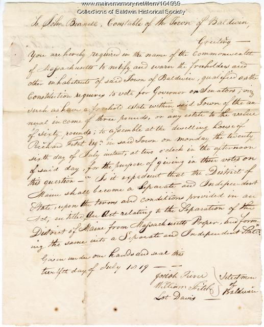Vote for statehood, Baldwin, 1819