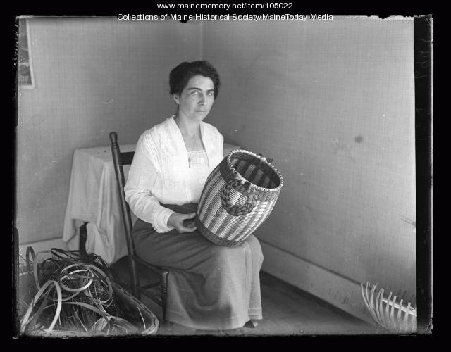 Pauline Shay with barrel basket, Portland, 1923