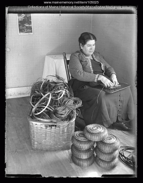 Margaret Shay with urchin baskets, Portland, 1923