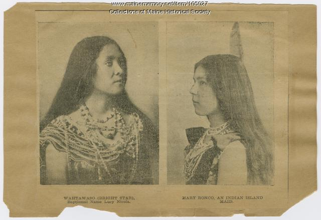 Lucy Nicolar and Mary Ranco, Indian Island, ca. 1900