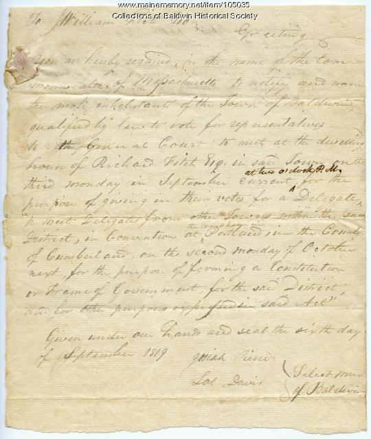 Warrant to vote for delegates to the Maine Constitution Convention, 1819