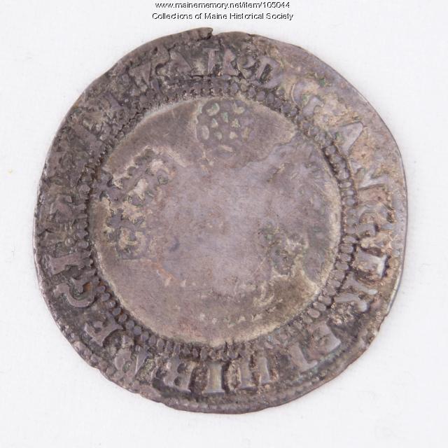 English sixpence Queen Elizabeth I coin, Richmond Island, 1590