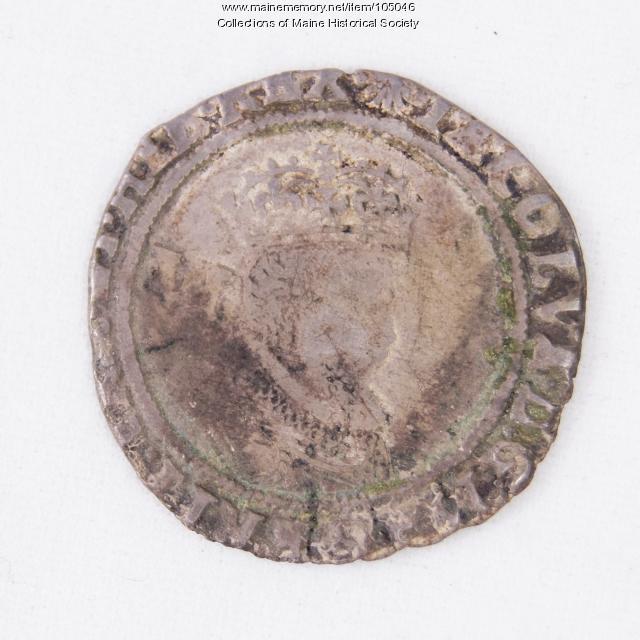 King James I English sixpence coin, Richmond Island, 1606