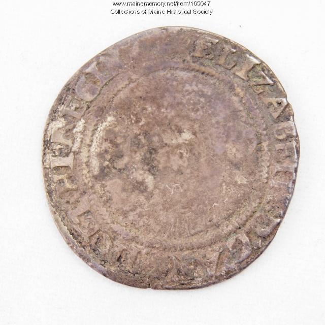 English three halfpence coin, Queen Elizabeth I, Richmond Island, 1568