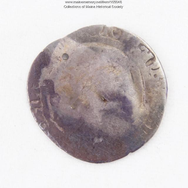 Queen Elizabeth I English three halfpence coin, Richmond Island, ca. 1560