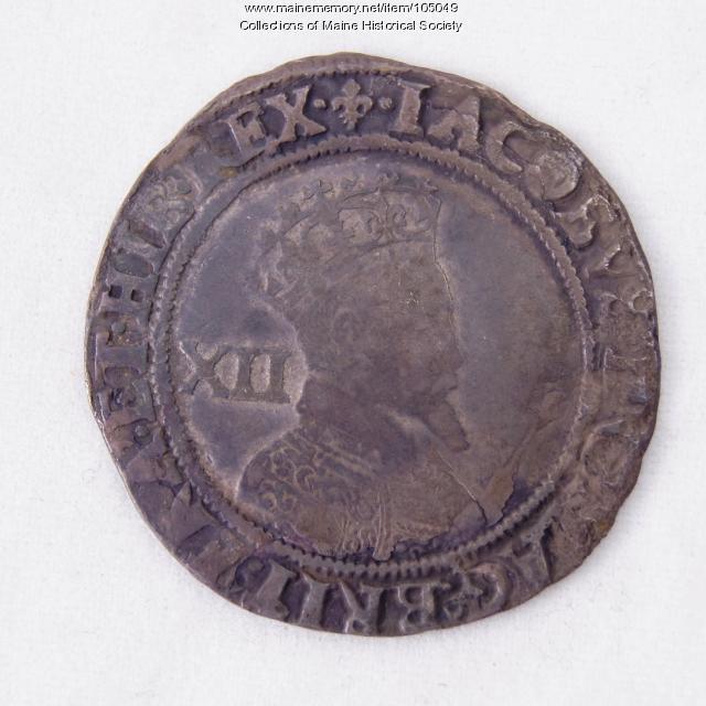 King James I English shilling coin, Richmond Island, 1604