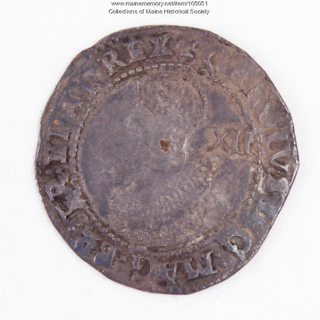 King Charles I English shilling coin, Richmond Island, 1625