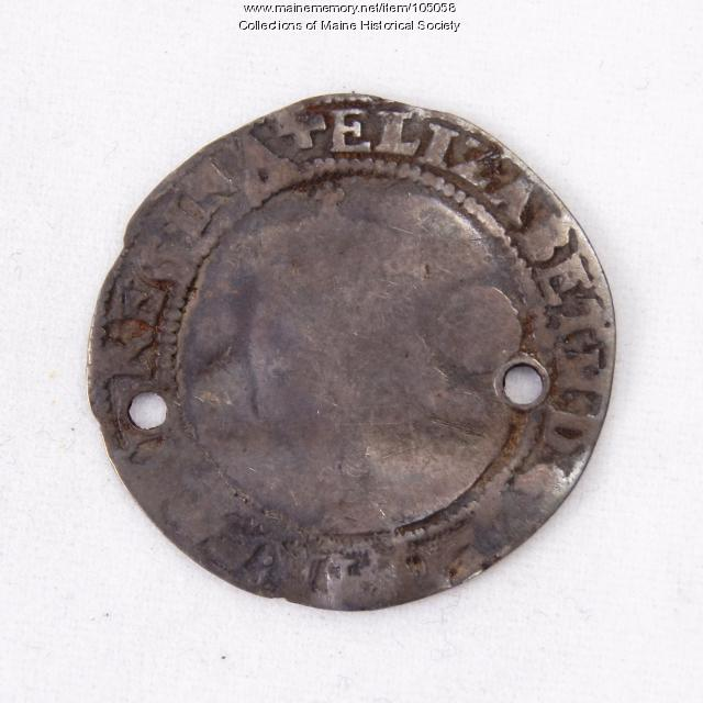 Queen Elizabeth I English sixpence coin, Richmond Island, 1579