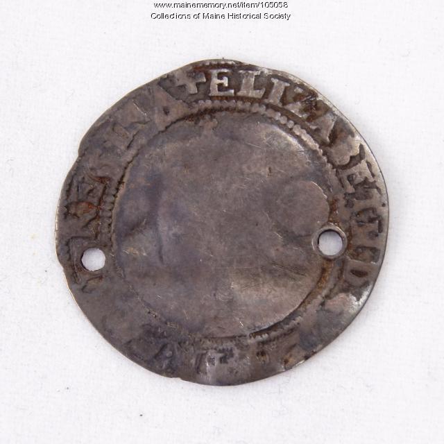 Queen Elizabeth I English sixpence coin, Richmond Island, 1579