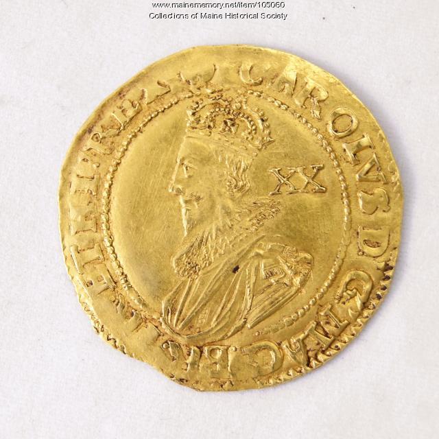 King Charles I English Unite coin, Richmond Island, 1628