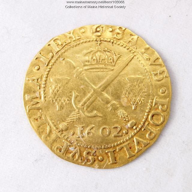 King James VI Scottish half sovereign coin, Richmond Island, 1602