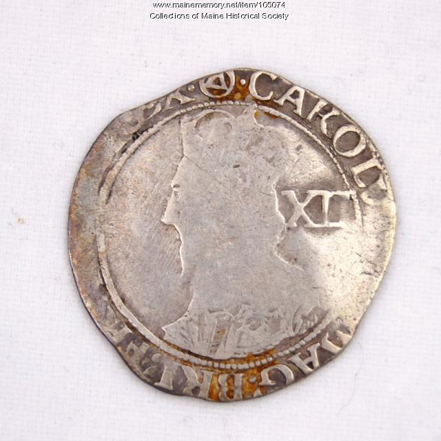 English shilling coin, King Charles I, Castine, ca. 1637