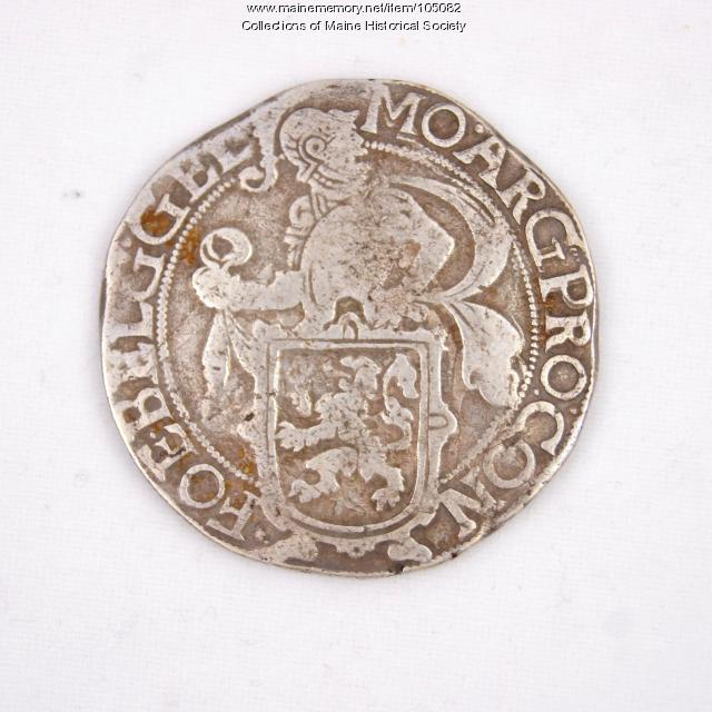 Dutch lion daalder coin, Castine, 1641