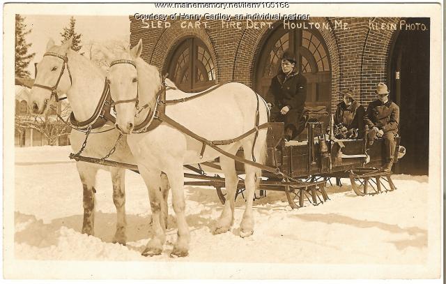 Fire equipment sleigh, Houlton, ca. 1880