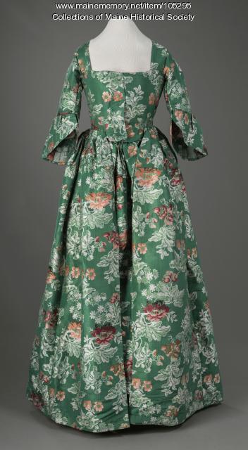 Revolutionary War-era styled gown, Portland, ca. 1825