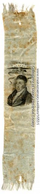 Welcome Lafayette Ribbon,  Portland, 1825