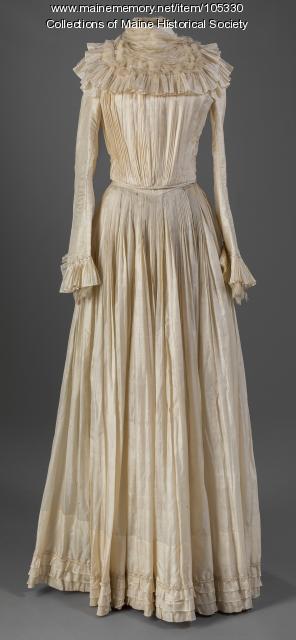 "Ida Hussey's ""handmade"" wedding dress, Guilford, ca. 1898"