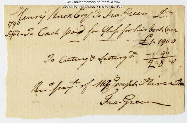 Henry Knox to Fra. Green, September 2, 1790