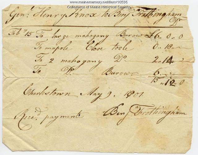 Henry Knox to Benjamin Frothingham, May 9, 1801
