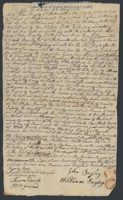 Indenture agreement, William Bayley to Joseph Quimby, 1774