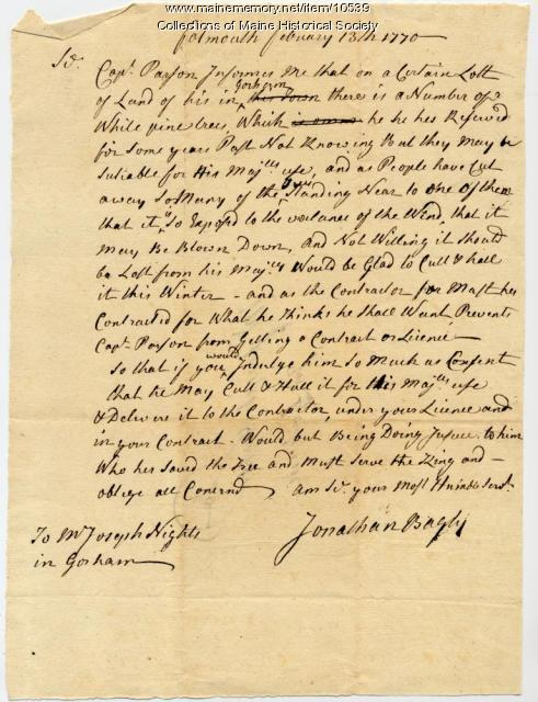 Jonathan Bayley letter to Joseph Hights, 1770