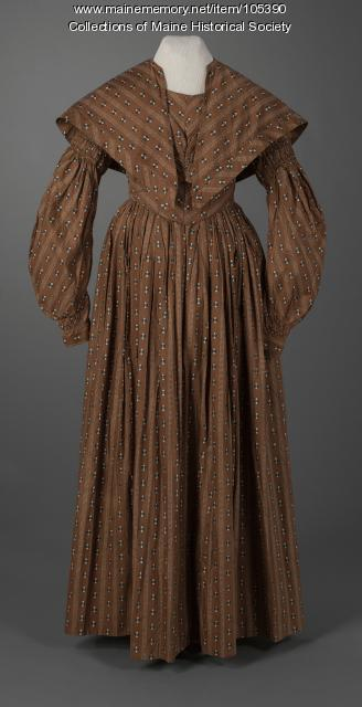 Gigot (mutton chop) sleeve dress, Eastport, ca. 1838